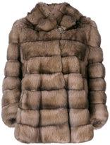 Liska hooded cropped fur coat