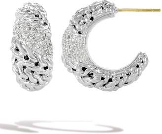 John Hardy Sterling Silver Pave Diamond Hoop Huggie Earrings - 0.45 ctw
