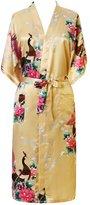 FAYBOX Women Long Kimono Satin Robe With Peacock Flower Nightgown Sleepwear M