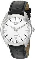 Tissot Men's 'Pr 100' Swiss Quartz Stainless Steel and Leather Dress Watch, Color:Black (Model: T1014101603100)