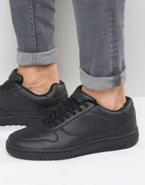 Pull&bear Faux Leather Trainers In Black