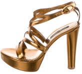 Sergio Rossi Metallic Platform Sandals