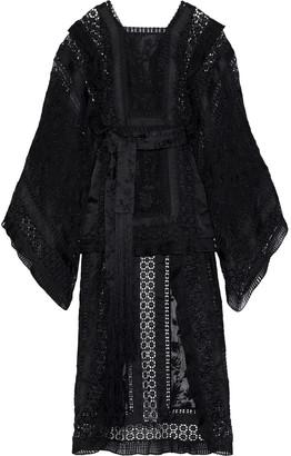Zimmermann Asymmetric Embroidered Silk-organza, Crochet And Chiffon Maxi Dress