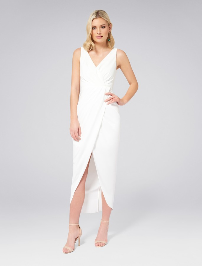 Forever New Victoria Wrap Dress - Porcelain - 4