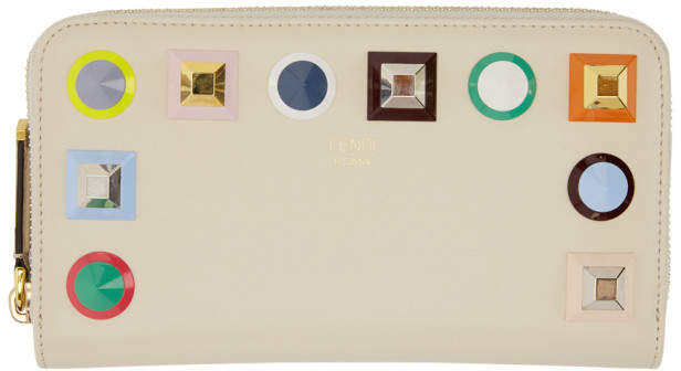 Fendi Beige Rainbow Zip Around Wallet