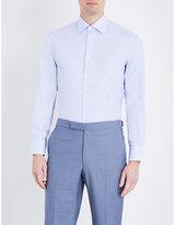 Canali Geometric-print Modern-fit Cotton Shirt