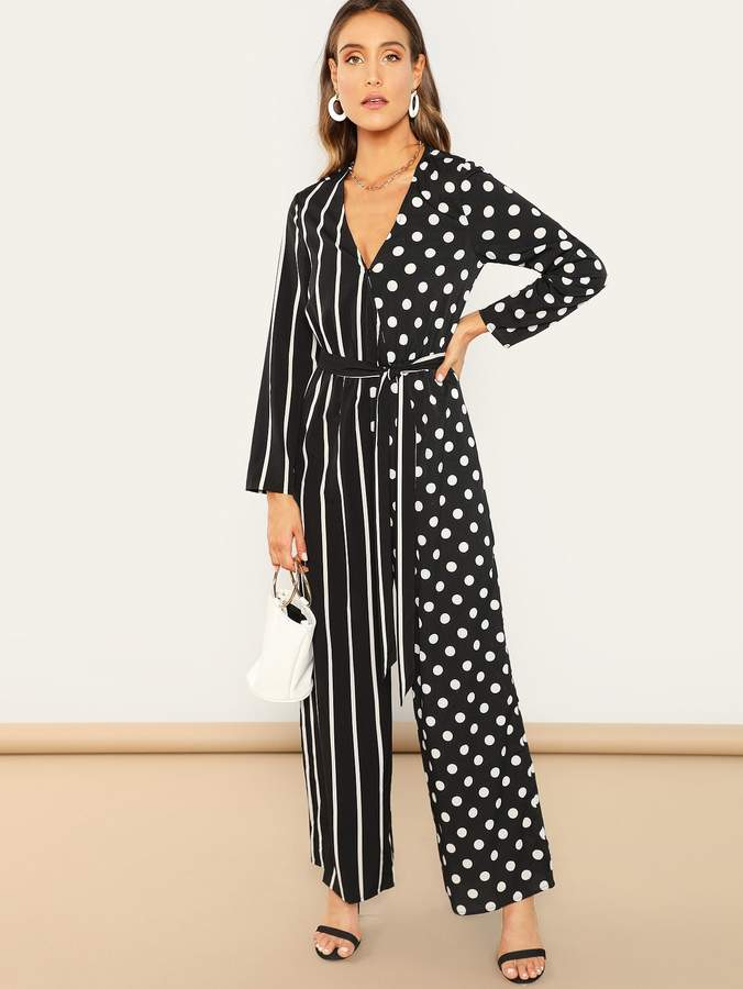 Mixed Print Belted Wrap Palazzo Jumpsuit