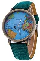 Lucoo® Women's Global Travel By Plane World Map Dress Watch Denim Faux Leather Wrist Watches