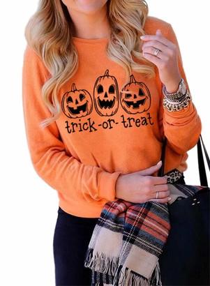 CORAFRITZ Women's Fashion Casual Halloween Pumpkin Face Pullover Long Sleeve Crewneck Top Letter Print Trick Or Treat Sweatshirt Ladies T Shirts Orange