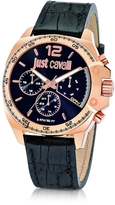 Just Cavalli Just Escape Chronograph Rose Gold Steel w/Black Croco Embossed Leather Men's Watch