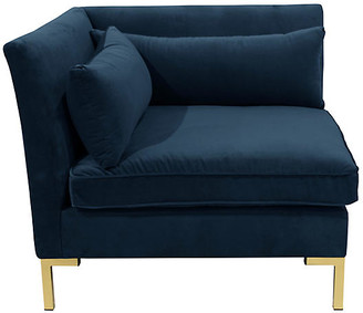 One Kings Lane Marceau Corner Chair - Navy Velvet