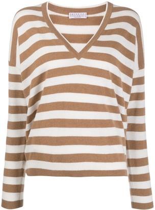 Brunello Cucinelli striped V-neck jumper