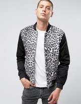 Religion Bomber Jacket With Leapord Print Body and Two Way Zip