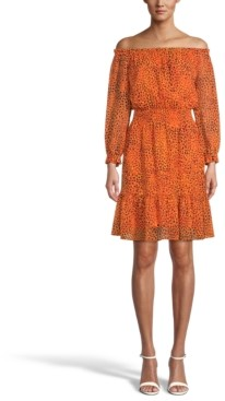 Bar III Printed Chiffon Off-The-Shoulder Dress, Created for Macy's