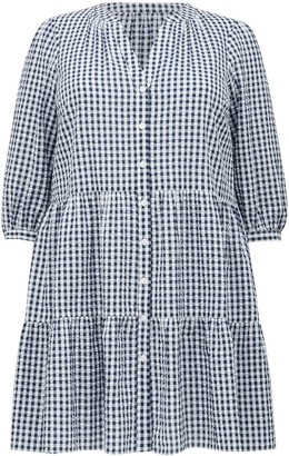 Forever New Mabel Curve Gingham Smock Dress - Navy / Porcelain Gingham - 16