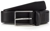Jeff Banks Designer Black Leather Rectangle Buckle Belt