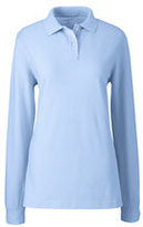 Lands' End Women's Tall Long Sleeve Performance Mesh Polo-White