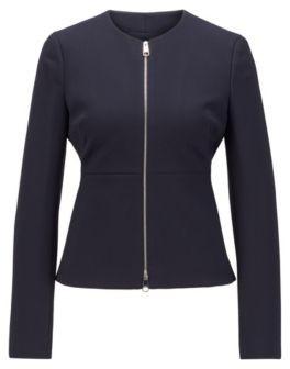 HUGO BOSS Zip-through regular-fit jacket in stretch-jersey twill