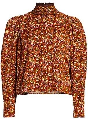 By Ti Mo Floral Corduroy Ruffleneck Shirt