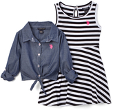 U.S. Polo Assn. Denim Button-Up & Black Stripe Dress - Infant & Girls