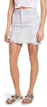 PTCL Tie Dye Distressed Raw Hem Denim Miniskirt