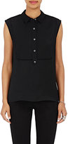 ATM Anthony Thomas Melillo Women's Sleeveless Tuxedo Shirt-BLACK