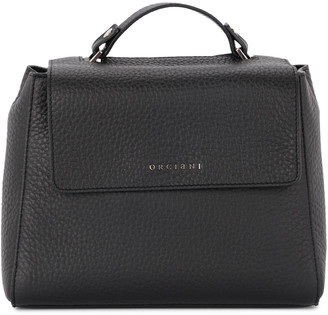 Orciani Sveva Small Black Tumbled Leather Handbag