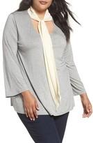 Three Dots Plus Size Women's Tie Neck Jersey Top