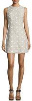MICHAEL Michael Kors Sleeveless Floral-Embroidered Linen Dress, Natural