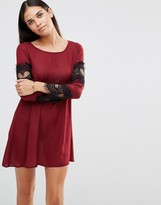 AX Paris Swing Dress With Lace Sleeve Detail