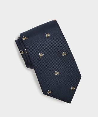 Drakes Embroidered Bee Tie in Navy