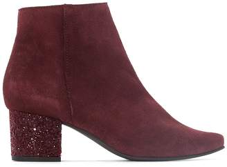 La Redoute Collections Leather Ankle Boots with Sparkly Heel