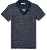Orlebar Brown Cedric Slim-fit Mélange Loopback Cotton Polo Shirt - Navy