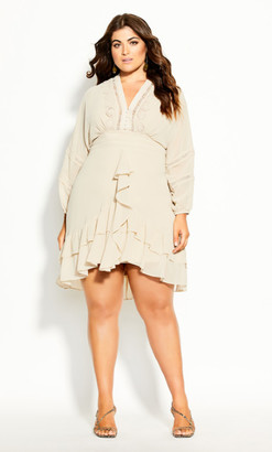 City Chic Sweetheart Dress - buff