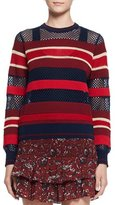 Etoile Isabel Marant Deacon Ribbed Mesh-Trim Pullover Sweater, Blue