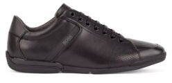 HUGO BOSS Smooth-leather trainers with bamboo-charcoal lining