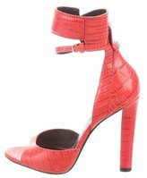 Alexander Wang Aminata Embossed Ankle-Strap Sandals