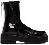 Fendi Black Patent Faux-Leather Biker Boots