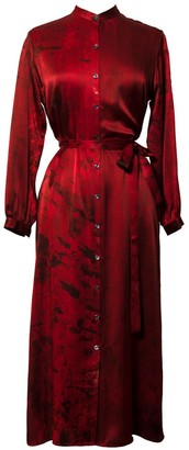 Carmen Molina Nuit Rouge Silk Shirt Dress