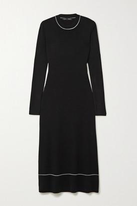 Proenza Schouler Striped Silk-blend Midi Dress - Black