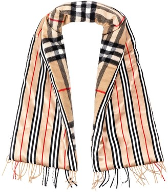 Burberry Fringed Stripe Check Scarf
