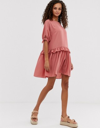 Asos Design DESIGN mini smock dress with frill waist and tie sleeve-Pink