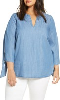 MICHAEL Michael Kors Tie Sleeve Chambray Top