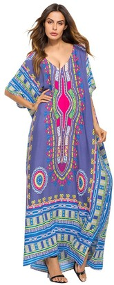 KOERIM Women Summer Boho Print Ethnic Kaftan Maxi Dress Loose Long Cover Up Beach Dress Purple