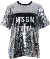 MSGM Silver Polyester T-shirt