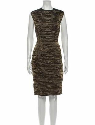 Lanvin Crew Neck Midi Length Dress Gold