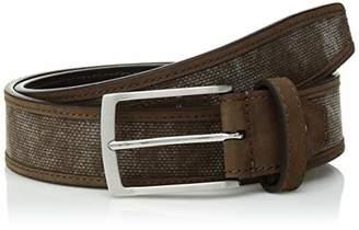 Bugatchi Men's Printed Nubuck and Canvas Fashion Belt