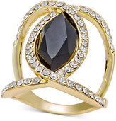 INC International Concepts Gold-Tone Black Stone and Pavé Crystal Statement Ring, Only at Macy's