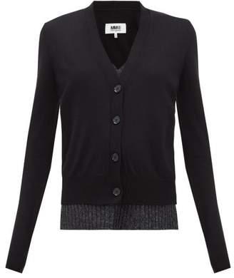 MM6 MAISON MARGIELA Layered Wool-blend Cardigan - Womens - Black