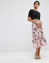Asos Pleated Midi Skirt in Floral Print